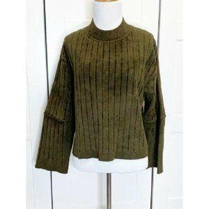 Sportmax Olive Long Sleeve Mock Neck Crop Pullover